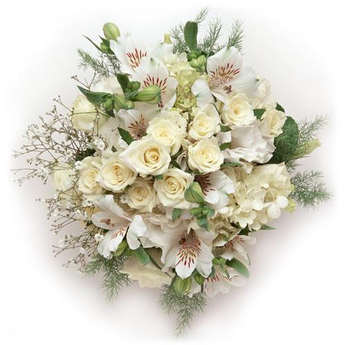 """""""Торжественный день"""". Букет белых роз и альстромерии"""